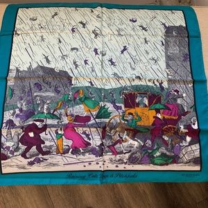 Burberry  Prorsum Blue Raining Cats Dogs Scarf